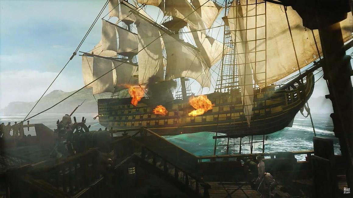 горящий корабль в Assassin's Creed IV: Black Flag.